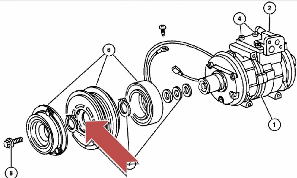 Łożysko koła pasowego kompresora / sprężarki klimatyzacji